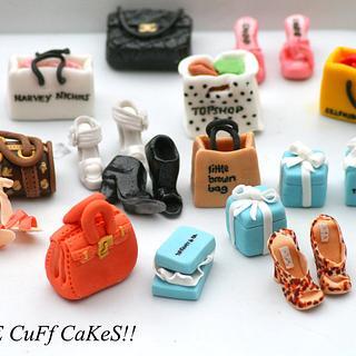 Shoe and handbag cupcake toppers