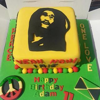 Bob Marley Jamaican themed cake