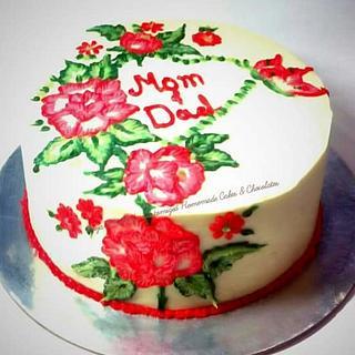 Brush Embroidery on Cake