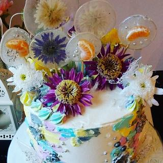 Art flower tangerine cake