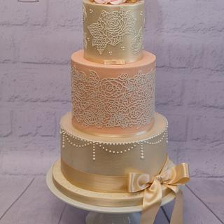 """Peaches and Cream"" wedding cake"