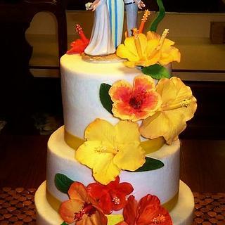 Tropical Beach themed Hibiscus wedding cake