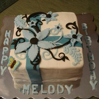 Blue flowers for Melody - Cake by Julia