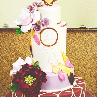 Vintage bohemian wedding cake for Cake International - Cake by Ingrid ~ Tårtans underbara värld