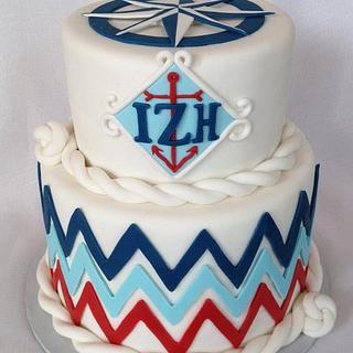 Nautical Chevron Birthday Cake