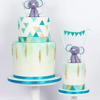 Elephant themed baby first birthday