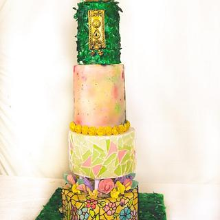 Secret garden wedding cake