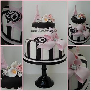 Paris Themed 50th Birthday Cake