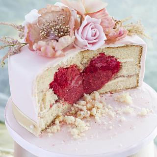 Hidden red heart cake