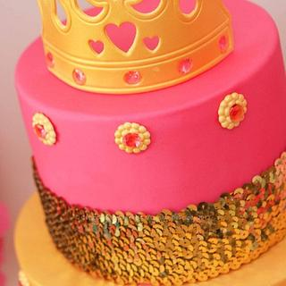 Pink & Gold Princess Dessert Table - Cake by Cupcakes by Amanda