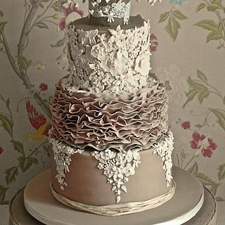 Lace, Ruffles and Vintage Rose Wedding cake
