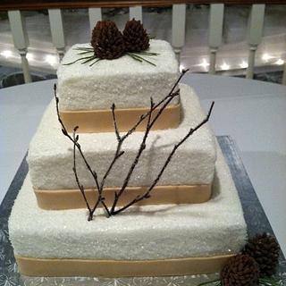 Winter Woodsy Wedding Cake