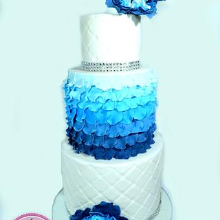 Blue peony ruffle wedding cake - Cake by Sabsy Cake Dreams