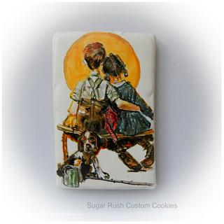 """Norman Rockwell """"Puppy Love"""" hand painted cookie"""