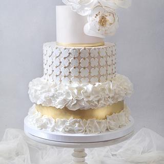 Modern Ruffle Wedding Cake