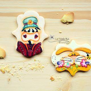The cow and the bunny on cookies