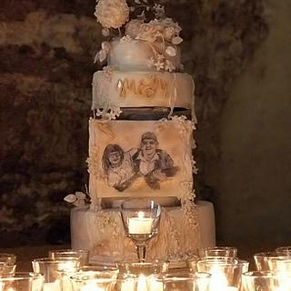Painted wedding cake for athletes /Spartan race cake