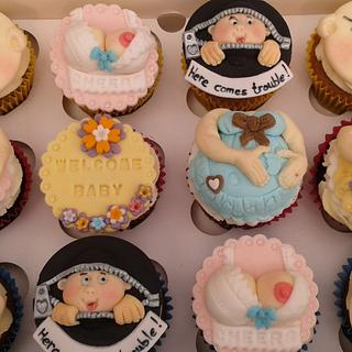 Cheeky Baby shower cupcakes