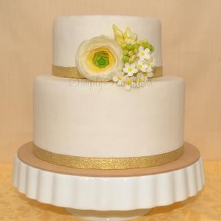 Simple Two Tier Cake with Sugar Ranunculus and fillers