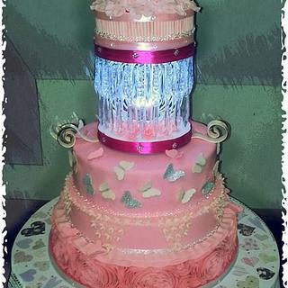 40th birthday light up pink wonderland cake