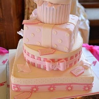 Pink parcel wedding cake