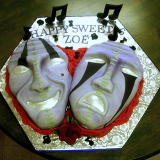 Theatrical Mask Sweet 16 Cake