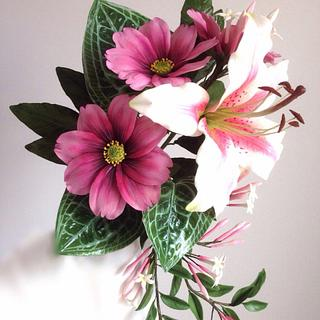 A bouquet of sugar flowers.