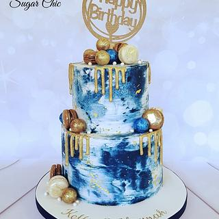 X Navy & Gold Marble Buttercream Cake x