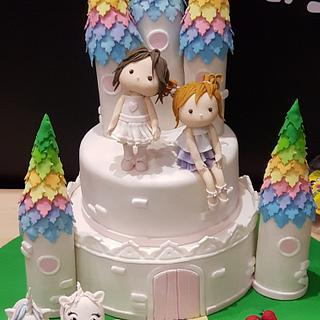 Two Princesses Castle cake