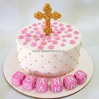 Customized cake for girl's Christening, Baptism celebration