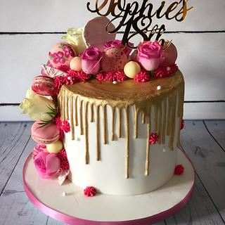 Gold drip with pink 18th birthday cake