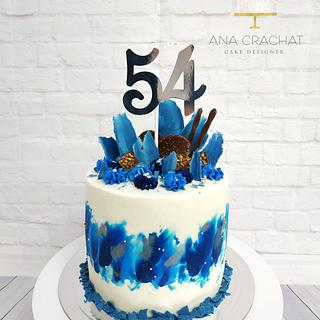 Blue explosion birthday cake