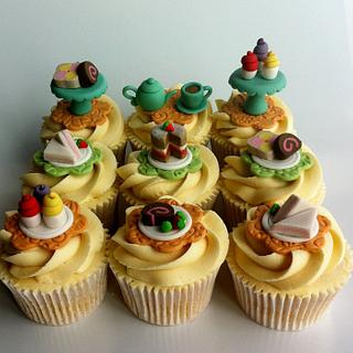 Tea party themed cupcakes