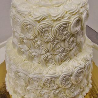 Rosette buttercream 2-tier wedding cake