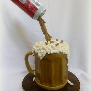 Floating beer can cake