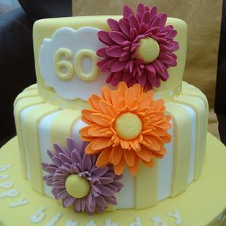 Bright flowers and stripes - Cake by Claire