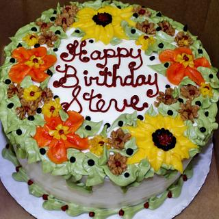 Fall sunflower, mixed floral birthday cake