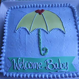 Umbrella Baby Shower - Cake by bakedbyrachel