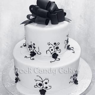 Black & White Wedding Cake - Cake by Rock Candy Cakes