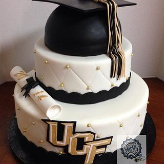 2 Tiered College Graduation Cake