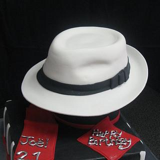 50's inspired fedora hat cake