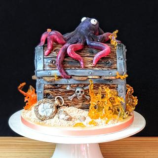 Treasure chest with octopus