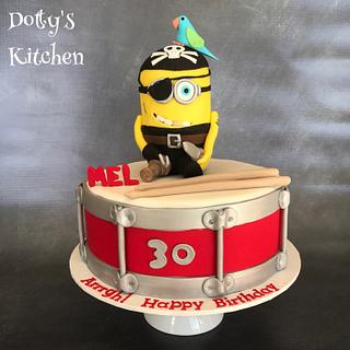Pirate minion on a drum cake
