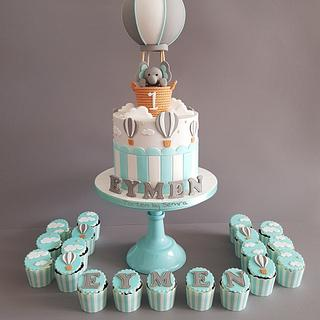 Hot air balloon & Elephant Cake and Cupcakes