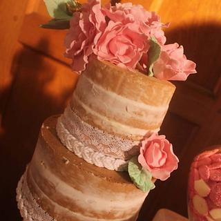 Semi-Naked Cake with Sugar Blooms