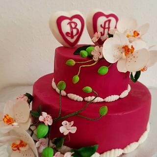 Weding cake with Orchid flower