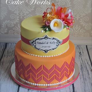Chevron and sugar flower bridal shower