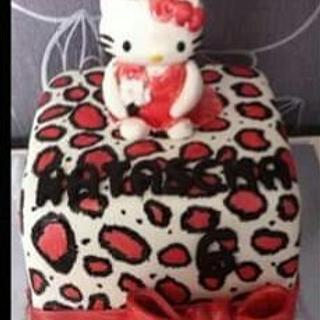 Hello kitty leopard print cake