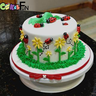 Ladybug Cake With Cupcakes - Cake by Cakes For Fun
