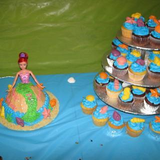 Mermaid Doll Cake & Seashell Cupcake Tower - Cake by Lori